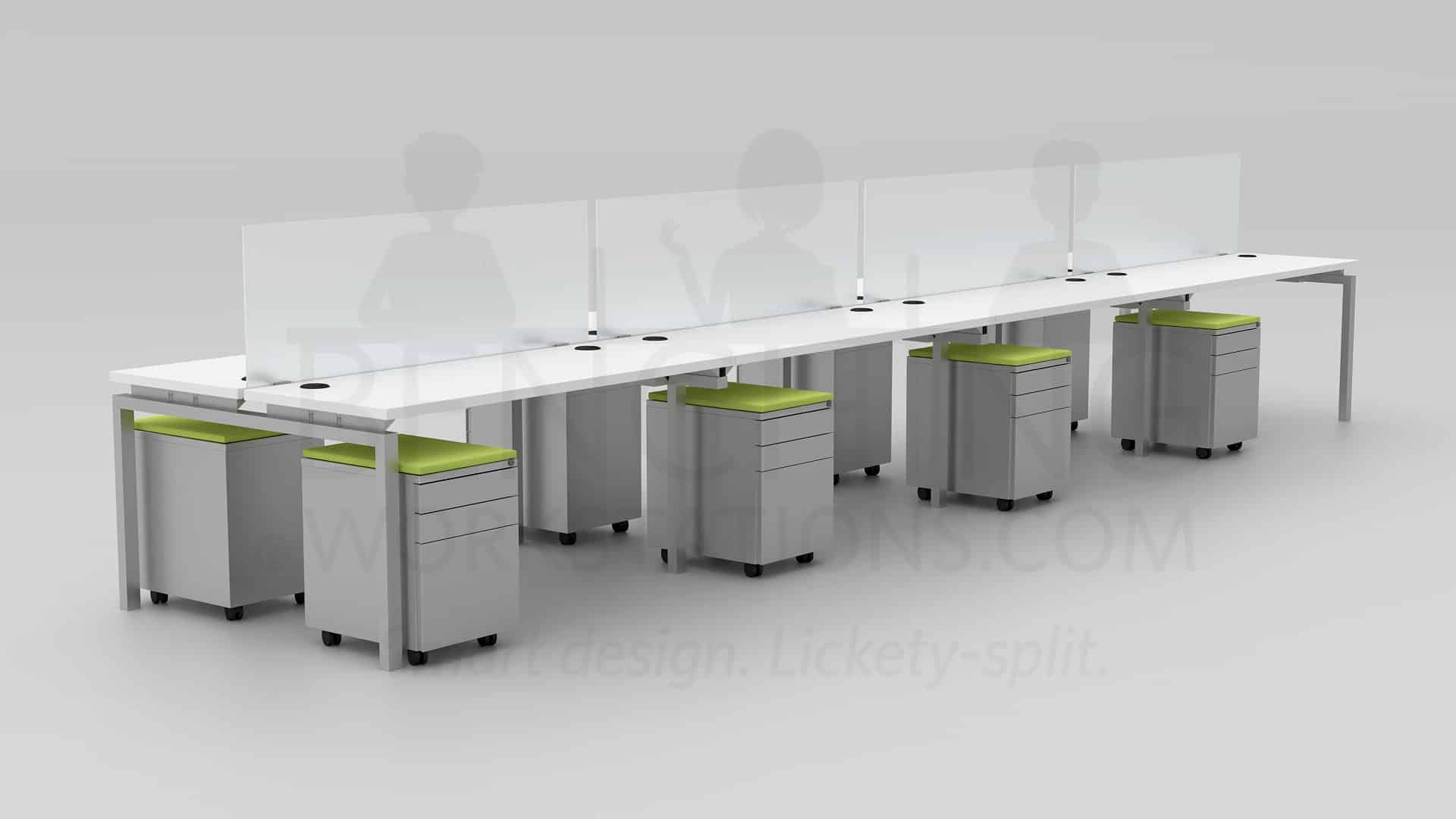Clear Design 8 Station Open Office Furniture 60x24 White