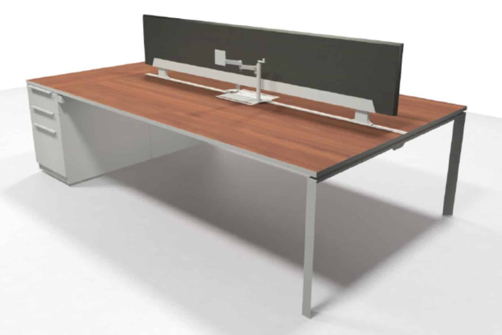 30 X72 Stand Alone Double Sided Desk With 72 X15 Fabric Tackboard And Supporting File Drawer